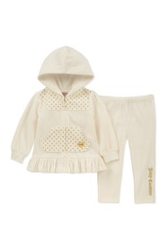 Juicy Couture Vanilla Quilted Velour Hoodie & Pant