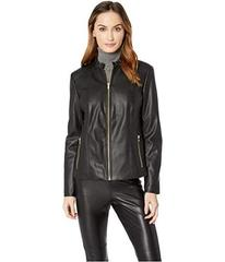 Cole Haan Faux Leather Ruffle Collar Jacket