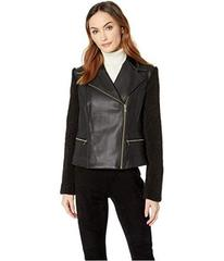 Cole Haan Faux Leather Biker Jacket with Faux Sher