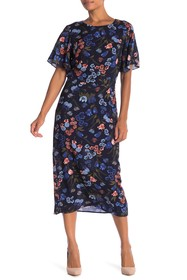 Lucca Couture Floral Flutter Sleeve Dress