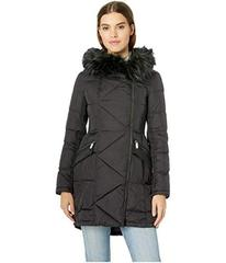 French Connection Asymmetrical Faux Fur Puffer