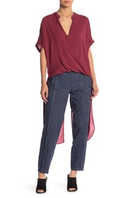 BCBG Wrap Front Elongated Blouse