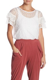 BCBGeneration Cross Back Ruffle Sleeve Lace Top