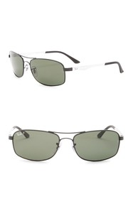 Ray-Ban 60mm Rectangle Polarized Sunglasses
