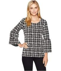 Calvin Klein Flare Sleeve Mix Jacquard Top