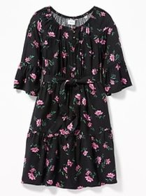 Tie-Belt Floral Dress for Girls