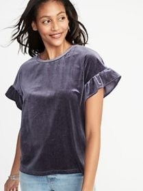 Glitter-Velvet Ruffle-Sleeve Top for Women