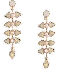 GUESS Clustered Stone and Pearl Drop Earrings