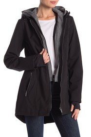 French Connection Dickey Layered Coat w/ Hoodie
