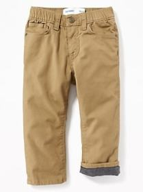 Relaxed Flannel-Lined Pull-On Pants for Toddler Bo