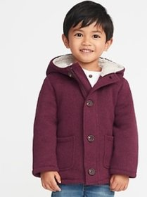 Button-Front Sweater-Fleece Hooded Coat for Toddle