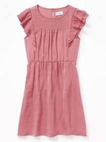Waist-Defined Flutter-Sleeve Satin Dress for Girls