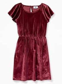 Velvet Waist-Defined Flutter-Sleeve Dress for Girl