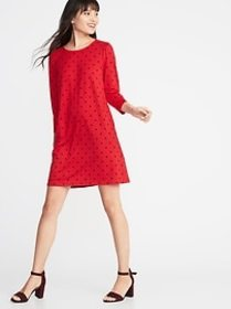 Ponte-Knit Shift Dress for Women
