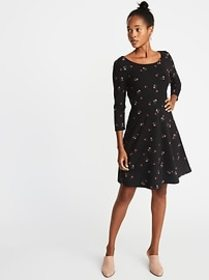 Printed 3/4-Sleeve Fit & Flare Dress for Women