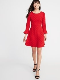 Fit & Flare Flute-Sleeve Crepe Dress for Women