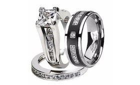 Hers and His Stainless Steel Princess Wedding Ring
