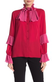 Anna Sui High Neck Pleated Blouse