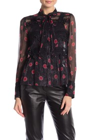 Anna Sui Long Sleeve Tie Front Chiffon Blouse