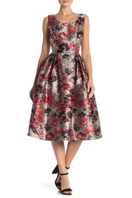 Anna Sui Metallic Floral Sleeveless Dress
