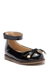 Nicole Miller Black Patent Bow Flat With Charm (To