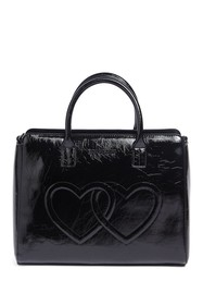 LOVE Moschino Embossed Hearts Smooth PU Leather Sa