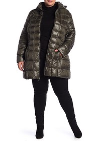 French Connection Quilted Hooded Jacket (Plus Size