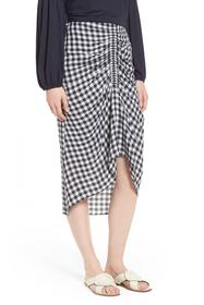 Nordstrom Signature Ruched Front Gingham Skirt