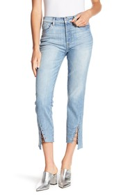 7 For All Mankind Edie Cropped Grommet Hem Straigh