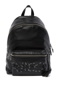 MOSCHINO Leather Whipstitched Brand Logo Backpack
