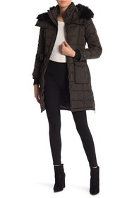 French Connection Waist Belt Quilted Faux Fur Hood
