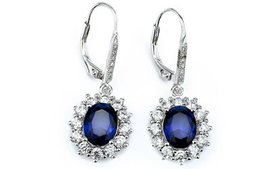 Halo Sapphire Leverback Earrings in 18K White Gold
