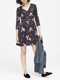 Floral V-Neck Fit-and-Flare Dress