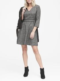 Plaid V-Neck Fit-and-Flare Dress