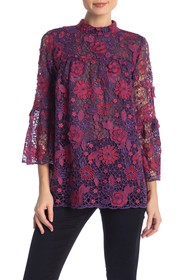 Anna Sui Flowers & Lace Jacquard Top