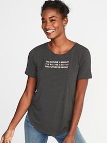 Luxe Graphic Curved-Hem Tee for Women