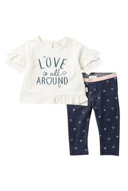 BCBGirls Ruffle Jersey Top & Denim Leggings Set (B