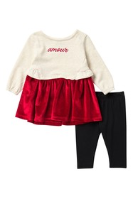 BCBGirls Pleated Velour Tunic & Leggings Set (Baby