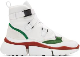 Chloé White & Green Sonnie High-Top Sneakers