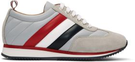 Thom Browne Grey Tricolor Stripe Quilted Running S