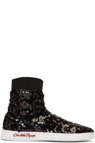 Charlotte Olympia Black Sequin Sock Sneakers