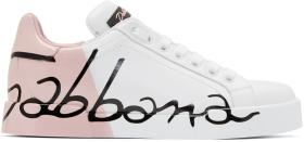Dolce & Gabbana White & Pink Writing Sneakers