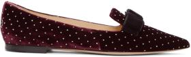 Jimmy Choo Red & Silver Velvet Spotted Loafers