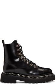 Balmain Black Fur Army Boots