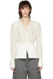 Chloé White Silk V-Neck Blouse