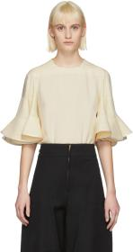 Chloé Off-White Ruffle Sleeve Blouse
