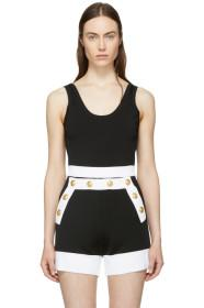 Balmain Black Stretch Knit Bodysuit