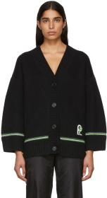 Prada Black Chunky Logo Patch Cardigan