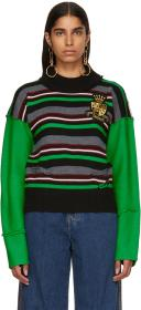 JW Anderson Green Striped Deconstructed Crewneck S