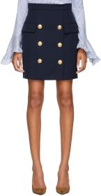 Balmain Blue Wool Six-Button Miniskirt